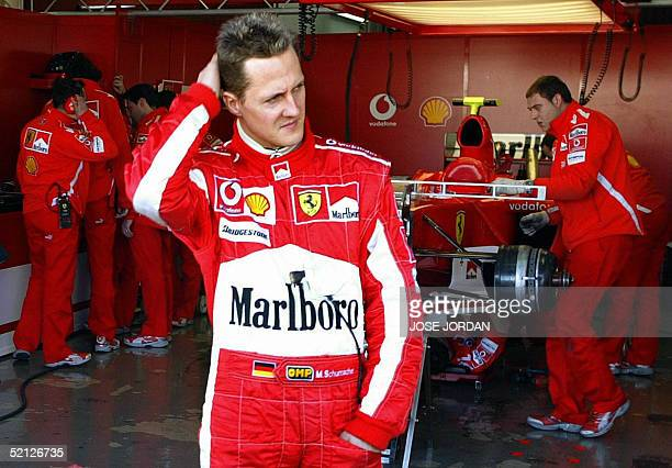 German Ferrari Formula one driver Michael Schumacher gestures during a training session at Ricardo Tormo racetrack in Cheste, in Valencia 03 February...