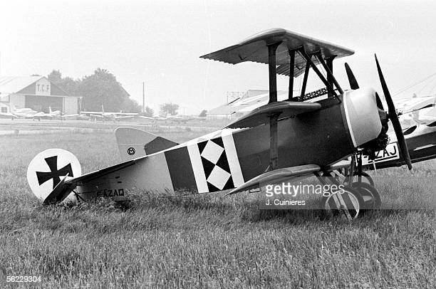 German fighter triplane Fokker Dr 1 airplane of the baron Manfred von Richthofen crack of the German fighters during an air show JAC2070720