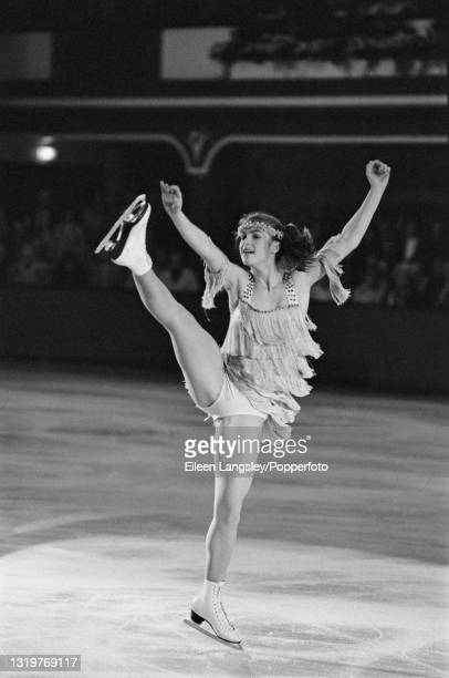 German figure skater Katarina Witt competes for East Germany in the Ladies singles event at the St Ivel International figure skating competition at...