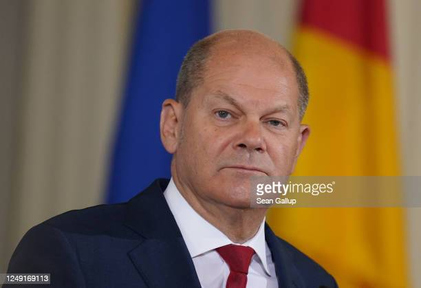 German Finance Minister and Vice Chancellor Olaf Scholz and Economy and Energy Minister Peter Altmaier speak to the media about the new economic...