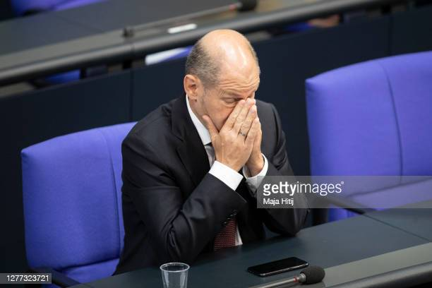 German Finance Minister and Vice Chancellor Olaf Scholz reacts during debate in the Bundestag on September 29, 2020 in Reichstag building in Berlin,...