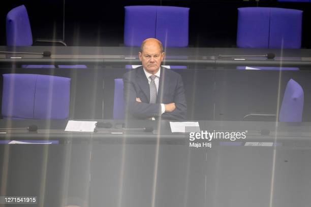 German Finance Minister and Vice Chancellor Olaf Scholz sits in the Bundestag on September 09, 2020 in Reichstag building in Berlin, Germany. Olaf...