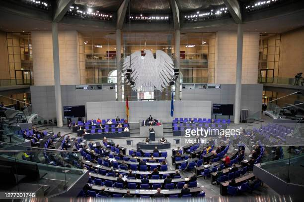 German Finance Minister and Vice Chancellor Olaf Scholz speaks in the Bundestag on September 29, 2020 in Reichstag building in Berlin, Germany. The...