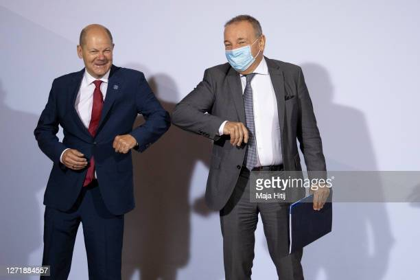 German Finance Minister and Vice Chancellor Olaf Scholz welcomes Slovenia's Finance Minister Andrej Sircelj prior to an informal meeting of European...