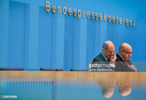 German Finance Minister and ViceChancellor Olaf Scholz and German Economy Minister Peter Altmaier give a press conference on the economical...