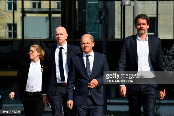 German Finance Minister and ViceChancellor Olaf Scholz arrive to deliver a press statement about the results of the Euro Group meeting in Berlin on...