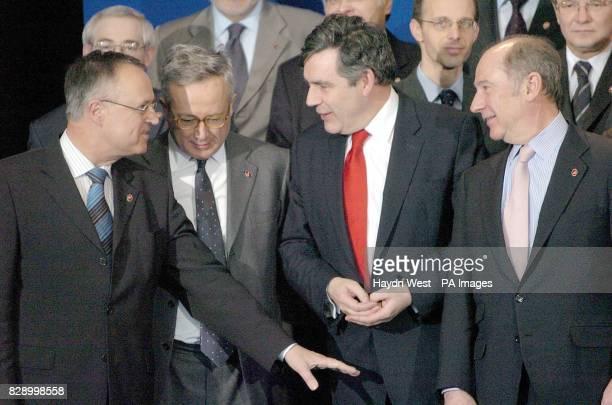 German Finance Minister Hans Eichel Italian Finance Minister Giulio Tremonti British Chancellor Gordon Brown and Spanish Finance Minister Rodrigo...