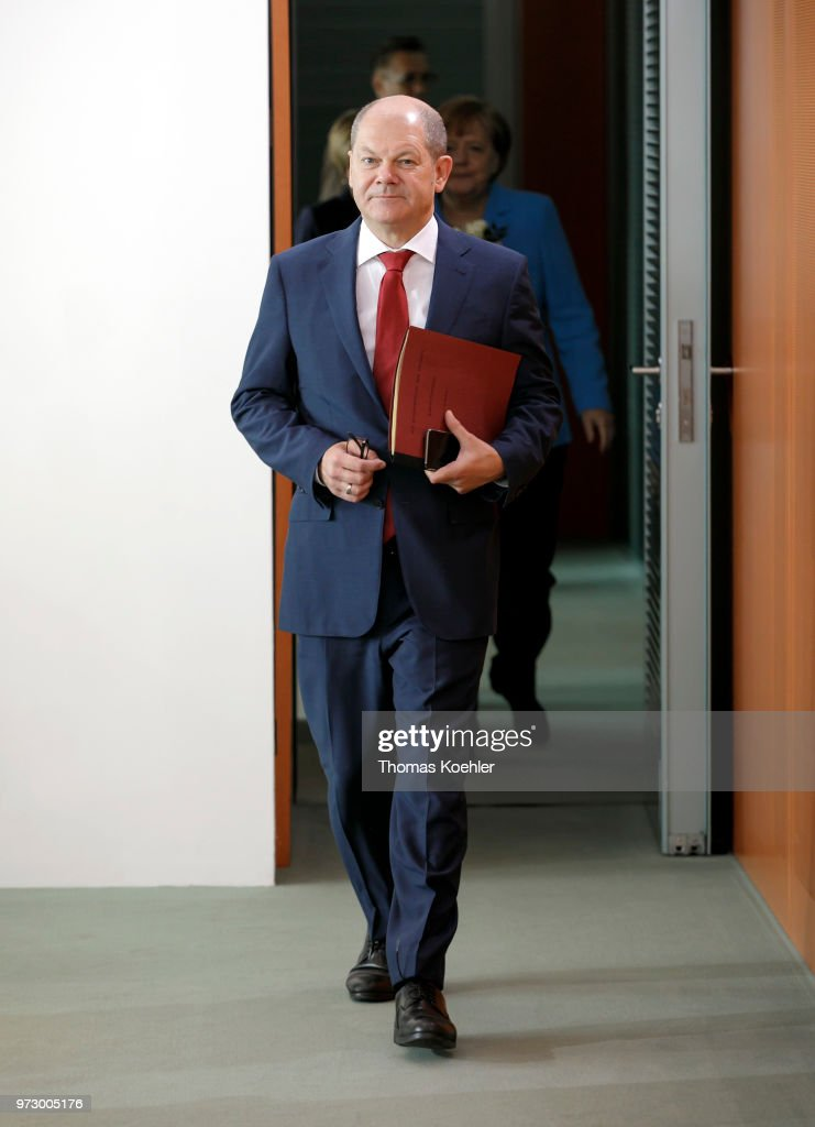 German Finance Minister Olaf Scholz arrives for the Weekly Government Cabinet Meeting on June 13, 2018 in Berlin, Germany.