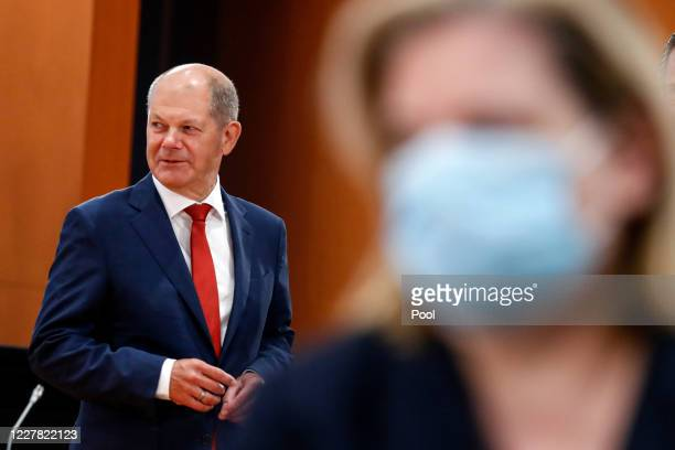 German Finance Minister Olaf Scholz attends a cabinet meeting at the German chancellery on July 29, 2020 in Berlin, Germany.