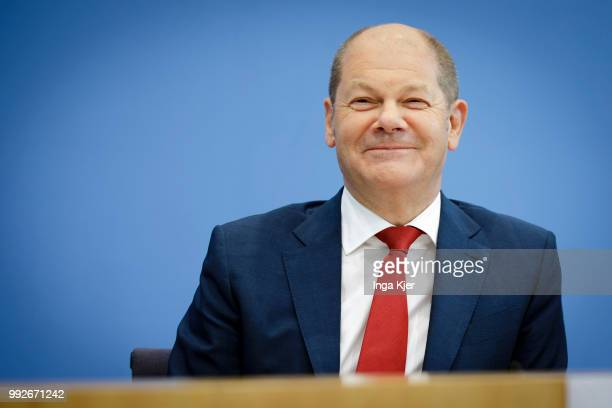 German Finance Minister Olaf Scholz captured at the federal press conference on July 06 2018 in Berlin Germany