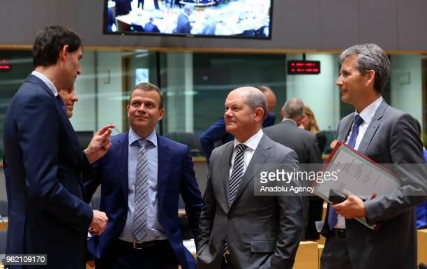 German Finance Minister Olaf Scholz Estonian Minister of Finance Toomas Toniste Dutch Finance Minister Wopke Hoekstra and Austrian Finance Minister...