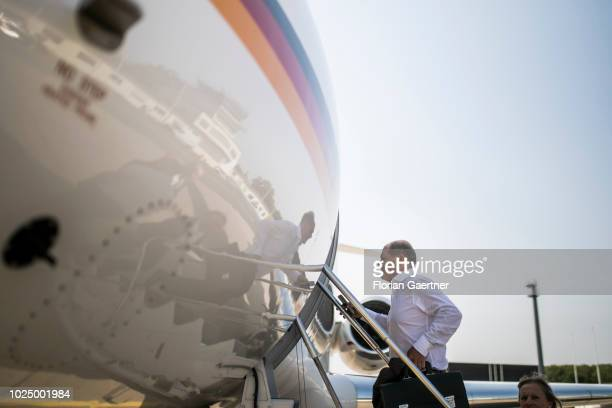 German Finance Minister Olaf Scholz is pictured before his flight to Paris on August 29 2018 in Berlin Germany