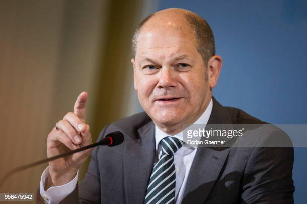 German Finance Minister Olaf Scholz is pictured during a press conference about the tax appraisal in Germany on May 09 2018 in Berlin Germany