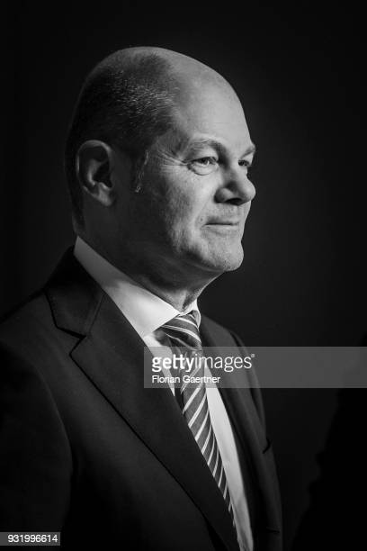 Image has been converted to black and white BERLIN GERMANY MARCH 14 German Finance Minister Olaf Scholz is pictured during a tv interview on March 14...
