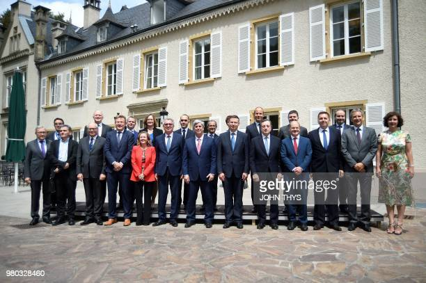 German Finance Minister Olaf Scholz Latvia's Finance Minister Dana ReiznieceOzola ECB President Mario Draghi Portuguese Finance Minister and...