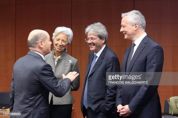 German Finance Minister Olaf Scholz President of the European Central Bank Christine Lagarde European Commissioner for Economy Paolo Gentiloni and...