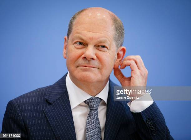 German Finance Minister Olaf Scholz speaks during a press conference at the Bundespressekonferenz on May 2 2018 in Berlin Germany