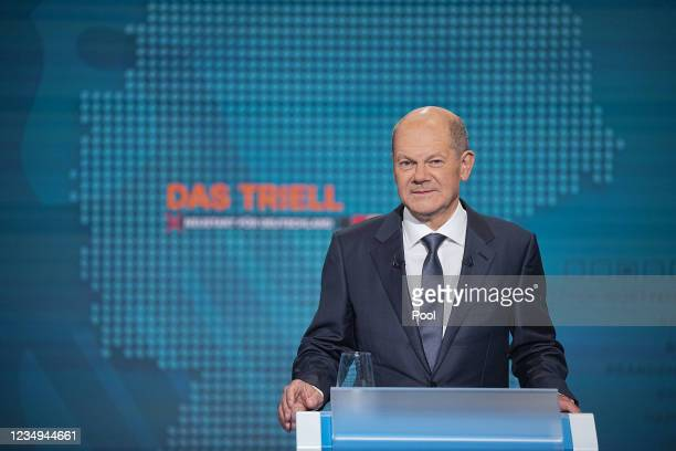 German Finance Minister, Vice-Chancellor and the Social Democrats candidate for Chancellor Olaf Scholz attends the TV debate between the three...