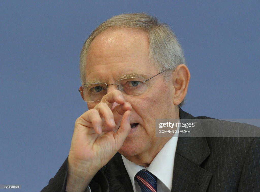 German Finance Minister Wolfgang Schaeuble addresses a press conference in Berlin on June 2, 2010. The German government approved a draft law expanding a ban on highly speculative trades that caused uproar internationally when it was announced last month. The ban on so-called naked short selling has been extended to include all stocks traded in Germany, Schaeuble said, presenting the controversial legislation.