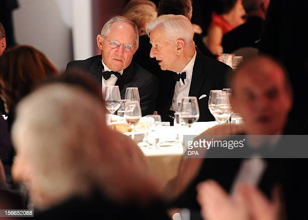 German Finance Minister Wolfgang Schaeuble and Former German President Richard von Weizaecker speak at the academy of the Jewish Museum in Berlin on...