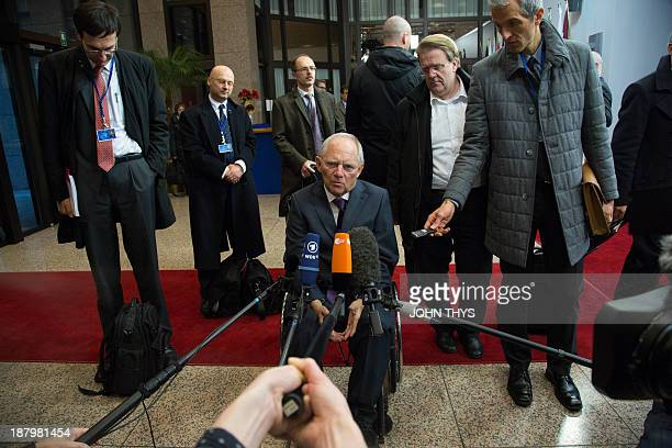 German Finance Minister Wolfgang Schaeuble answers journalists' questions prior to a Eurozone finance ministers meeting at the EU Headquarters in...