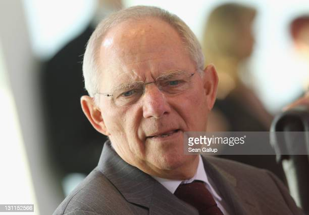 German Finance Minister Wolfgang Schaeuble arrives for the weekly German government cabinet meeting on November 2 2011 in Berlin Germany Leaders...