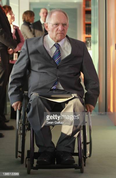 German Finance Minister Wolfgang Schaeuble arrives for the weekly German government cabinet meeting on February 8 2012 in Berlin Germany High on the...