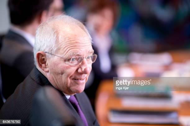 German Finance Minister Wolfgang Schaeuble arrives for the weekly cabinet meeting at the chancellery on February 22 2017 in Berlin Germany Wolfgang...