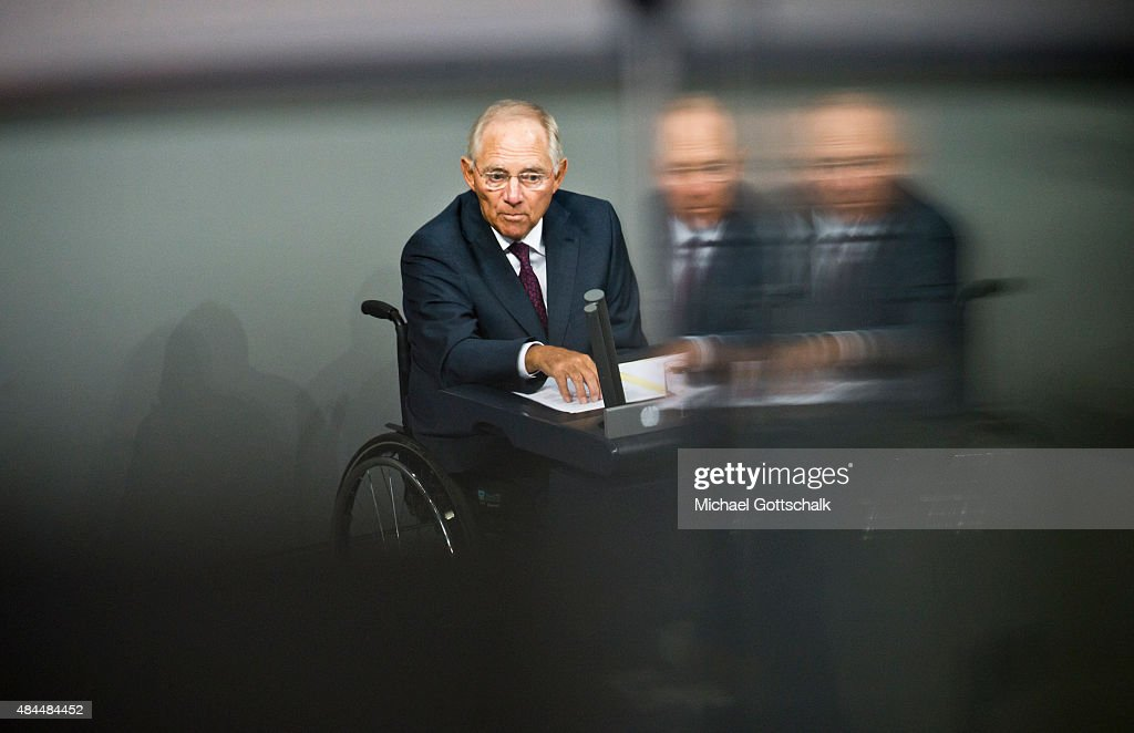 German Finance Minister Wolfgang Schaeuble attend the debate on financial aid for Greece in German Bundestag on August 19, 2015 in Berlin, Germany.