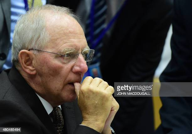 German Finance Minister Wolfgang Schaeuble attends a meeting of the Eurogroup finance ministers in Brussels on July 12 2015 The EU cancelled a full...