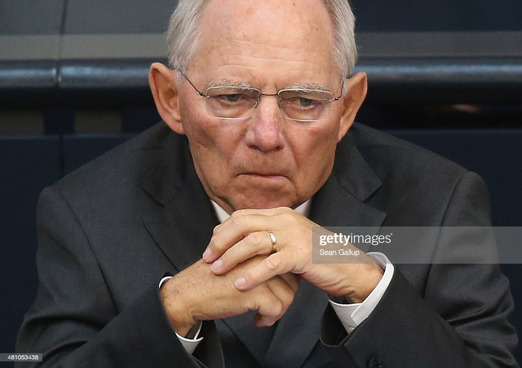 German Finance Minister Wolfgang Schaeuble attends debates prior to a vote over the third EU financial aid package to Greece at an extraordinary session of the German parliament, the Bundestag, on July 17, 2015 in Berlin, Germany. The Bundestag is among several European parliaments that must vote on whether to allow negotations over the aid package that will help Greece to avert state bankruptcy and shore up the Greek banking system.