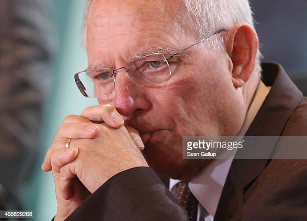 German Finance Minister Wolfgang Schaeuble attends the weekly German government cabinet meeting on March 11 2015 in Berlin Germany Schaeuble has been...