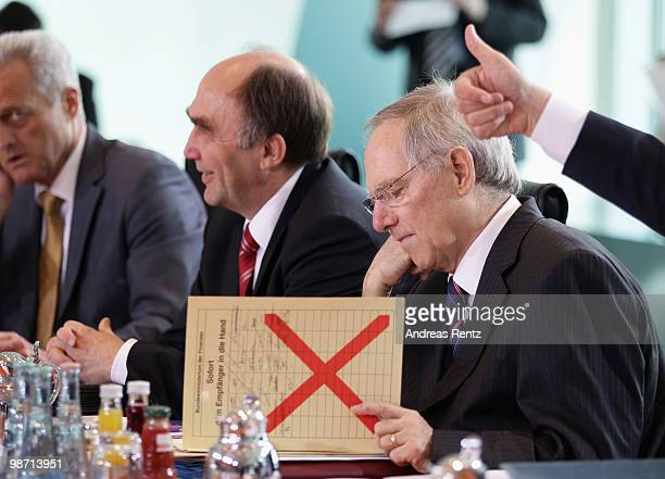 German Finance Minister Wolfgang Schaeuble attends the weekly German government cabinet meeting at the Chancellery on April 28 2010 in Berlin Germany...
