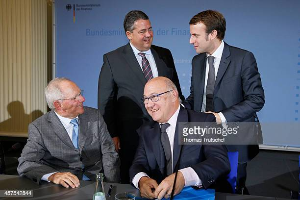 German Finance Minister Wolfgang Schaeuble, German Economy Minister and Vice Chancellor Sigmar Gabriel, French Finance Minister Michel Sapin, and...
