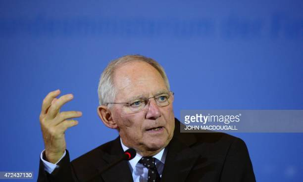 German Finance Minister Wolfgang Schaeuble gestures during a press conference to present the tax revenue in Berlin on May 7 2015 AFP PHOTO / JOHN...