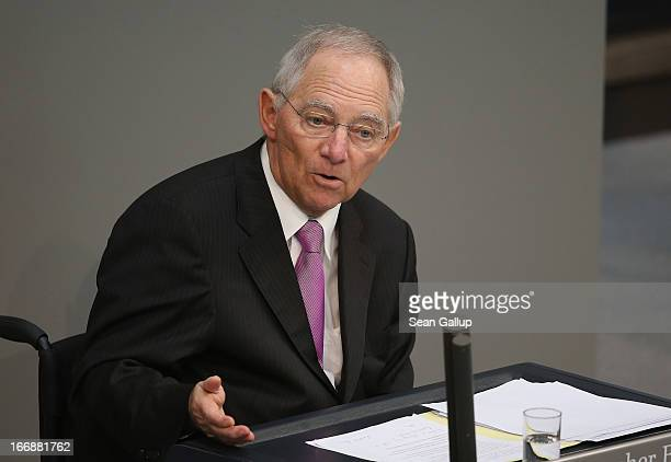 German Finance Minister Wolfgang Schaeuble gives a government statement prior to debates over EU finanical aid to Cyprus at the Bundestag on April...