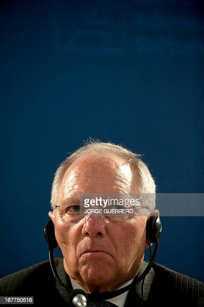 German Finance Minister Wolfgang Schaeuble gives a joint press conference with Spain's Economy Minister in Loja, near Granada, on April 29, 2013. AFP...