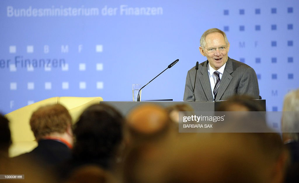 German Finance Minister Wolfgang Schaeuble gives a speech during a conference on financial regulation on May 20, 2010 at the Finance Ministry in Berlin. Chancellor Angela Merkel said during the conference she would lead a campaign for a tax on financial markets at the next meeting of the Group of 20 developed economies in June 2010 and called for international support.