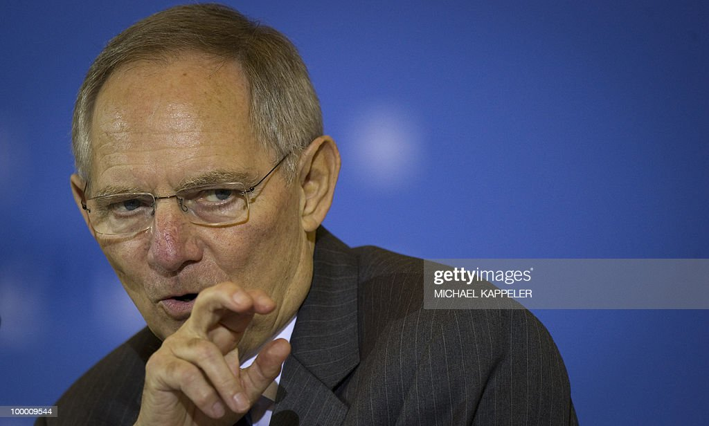 German Finance minister Wolfgang Schaeuble gives a speech during a conference on financial regulation on May 20, 2010 at the Finance Ministry in Berlin. Merkel said she would lead a campaign for a tax on financial markets at the next meeting of the Group of 20 developed economies in June 2010 and called for international support.