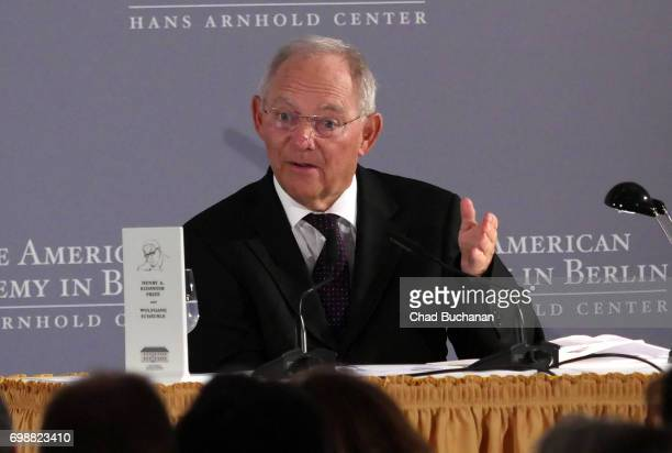 German Finance Minister Wolfgang Schaeuble receives the 2017 Henry A Kissinger Prize at the American Academy on June 20 2017 in Berlin Germany