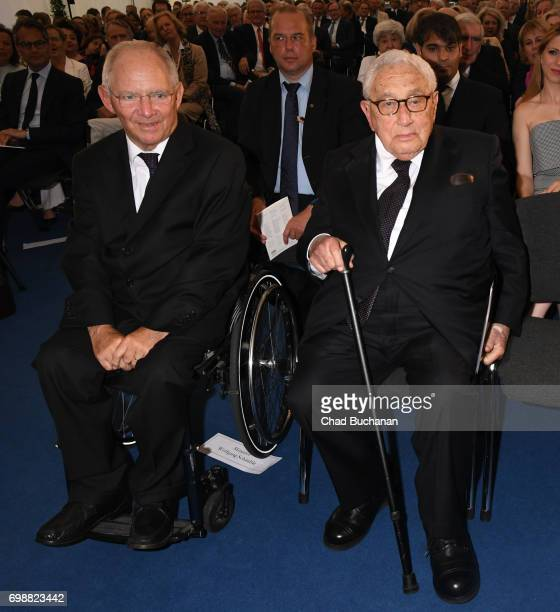 German Finance Minister Wolfgang Schaeuble receives the 2017 Henry A Kissinger Prize from Henry Kissinger at the American Academy on June 20 2017 in...