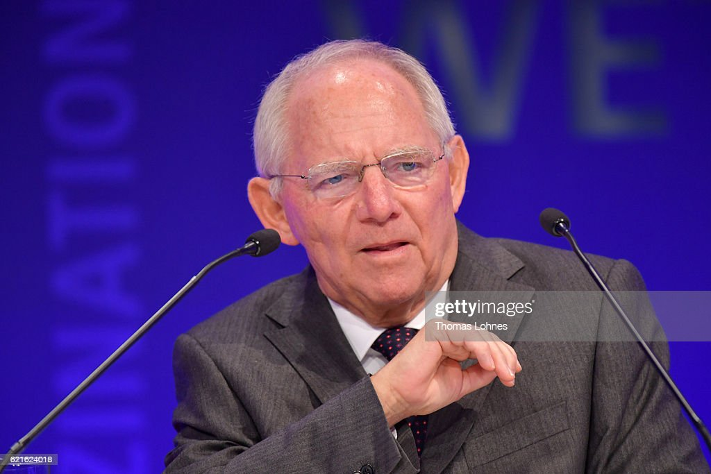 German Finance Minister Wolfgang Schaeuble speaks during day 1 of the VDZ Publishers' Summit at BCC Berlin on November 7, 2016 in Berlin, Germany.
