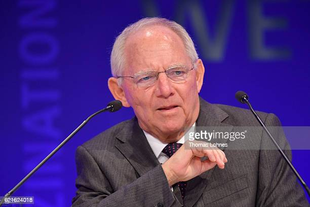 German Finance Minister Wolfgang Schaeuble speaks during day 1 of the VDZ Publishers' Summit at BCC Berlin on November 7 2016 in Berlin Germany