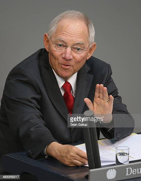 German Finance Minister Wolfgang Schaeuble speaks prior to debates over the government state budget at the Bundestag on April 8 2014 in Berlin...