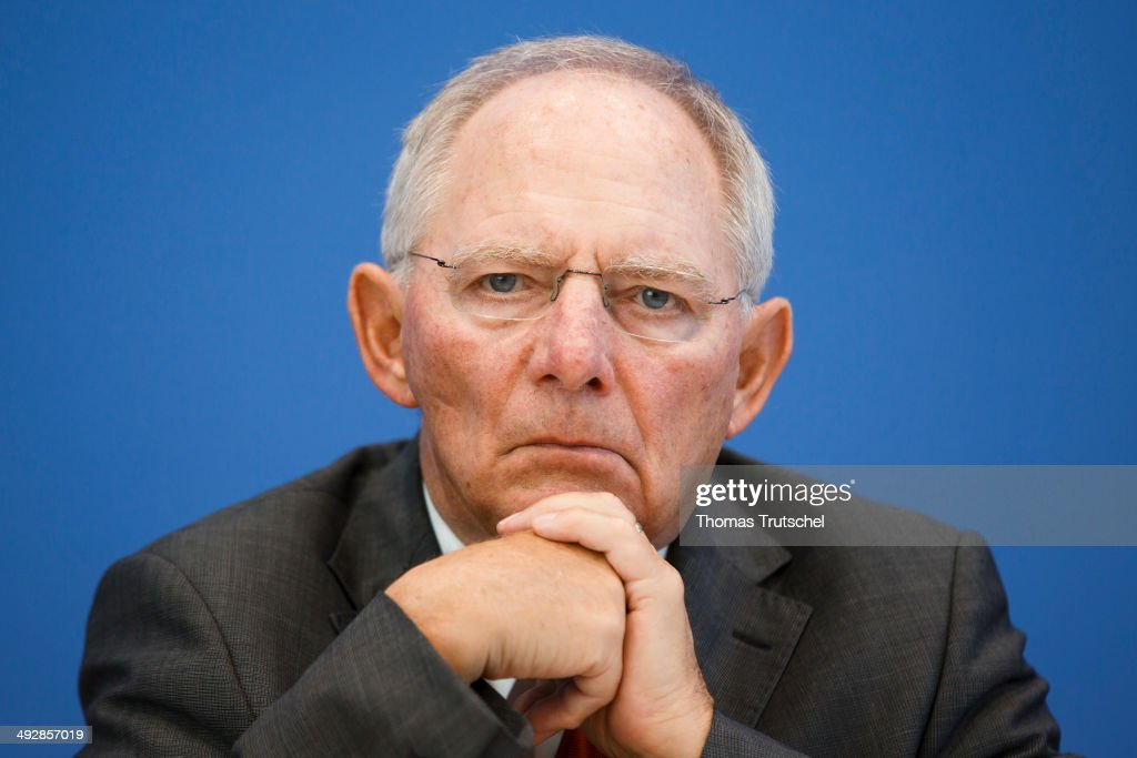 German Finance Minister Wolfgang Schaeuble speaks to the media at the Federal Press Conference on May 22, 2014 in Berlin, Germany.