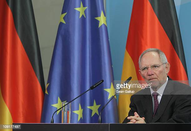 German Finance Minister Wolfgang Schaeuble speaks to the media with Chancellor Angela Merkel to announce that Jens Weidmann will become new head of...