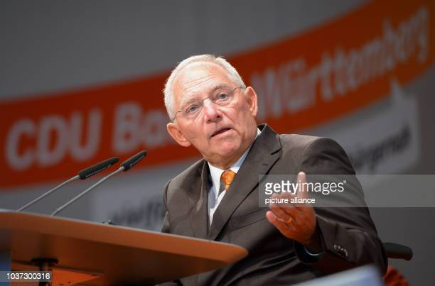 German Finance Minister Wolfgang Schaeuble top candidate for the CDU at the BadenWuerttemberg CDUstate convention in HeilbronnGermany 14 September...