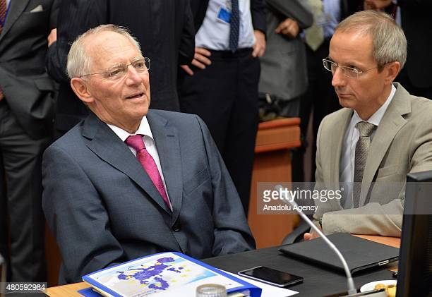 German Finance Minister Wolfgang Schauble at the start of the Eurogroup finance ministers meeting at the European Council headquarters in Brussels...