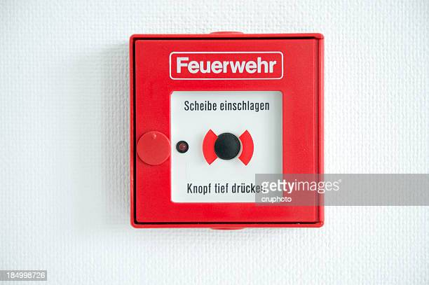 German fire alarm box on a wall