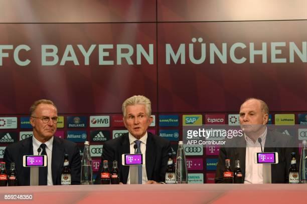 German first division club Bayern Munich's Executive board chairman KarlHeinz Rummenigge Bayern's president Uli Hoeness and new head coach Jupp...